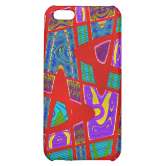 red abstract art iPhone 5C cases