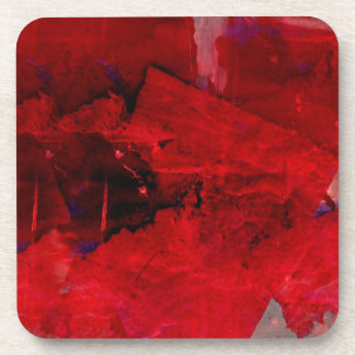 Red Abstract Beverage Coaster