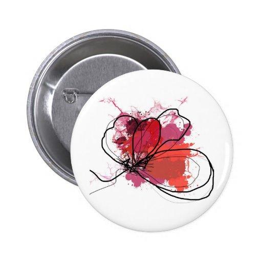 Red Abstract Brush Splash Flower .JPEG 2 Inch Round Button