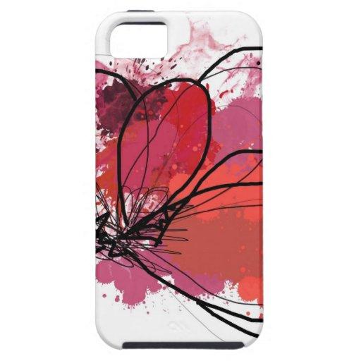 Red Abstract Brush Splash Flower .JPEG iPhone 5 Cases