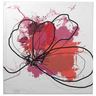 Red Abstract Brush Splash Flower .JPEG Cloth Napkins