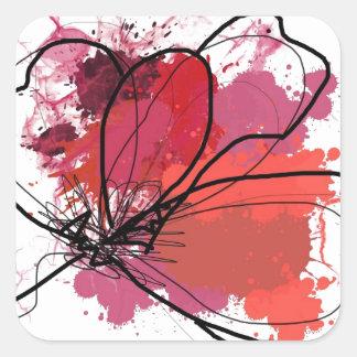 Red Abstract Brush Splash Flower .JPEG Square Sticker