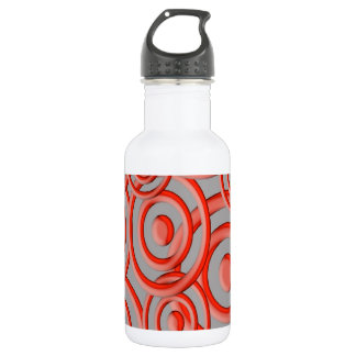 Red abstract circle pattern stainless steel water bottle