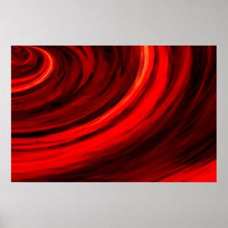 Red Abstract Circles Digital Art Poster Print