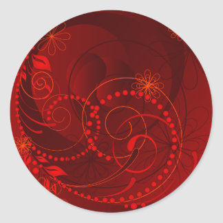 red abstract classic round sticker