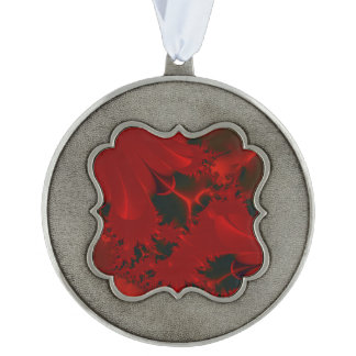 Red Abstract Classy Holiday Pewter Ornament