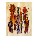 Red Abstract Couple Painting Fine Art Cards Post Cards