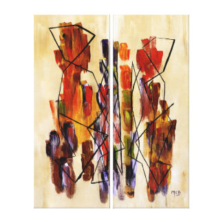 Red Abstract Couple Tribal Multi Panels Painting Canvas Print