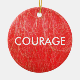 Red Abstract COURAGE Ornament