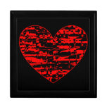 Red Abstract Crackle Heart Keepsake Boxes