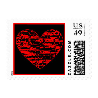 Red Abstract Crackle Heart Postage