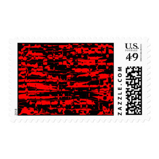 Red Abstract Crackle Postage