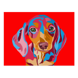 Red Abstract Dachshund Postcard