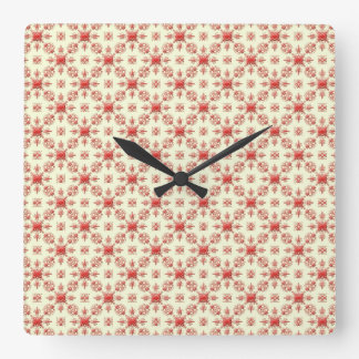 Red Abstract Damask on Creme Square Clock