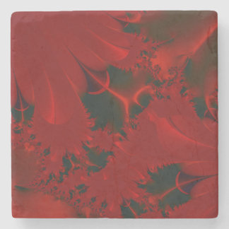 Red Abstract Design Stone Coaster