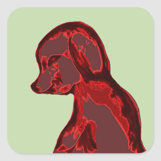 Red Abstract Dog Square Sticker