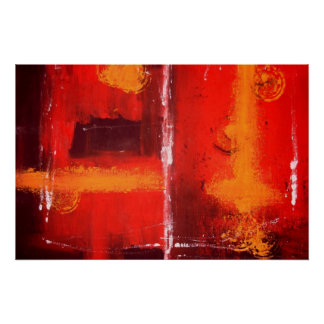 Red Abstract Expressionist Painting Print Poster
