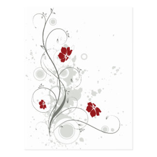 Red Abstract Floral Postcard
