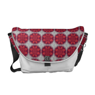 Red Abstract Flower Pattern Messenger Bag