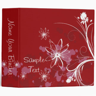 Red Abstract Flowers Binder