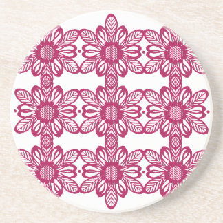 Red abstract flowers coaster