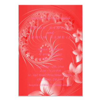 """Red Abstract Flowers 3.5"""" X 5"""" Invitation Card"""