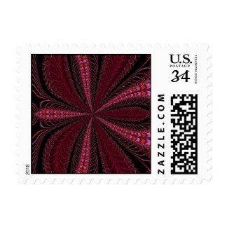 Red Abstract Fractal Art Postage