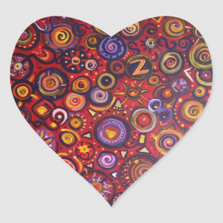 Red Abstract Heart Sticker