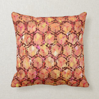 Red Abstract Honeycomb Reversible Throw Pillow