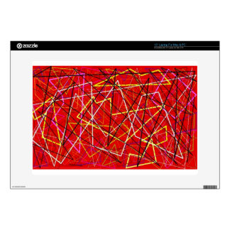 """Red abstract lines 15"""" laptop skin"""