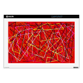 """Red abstract lines 17"""" laptop decal"""