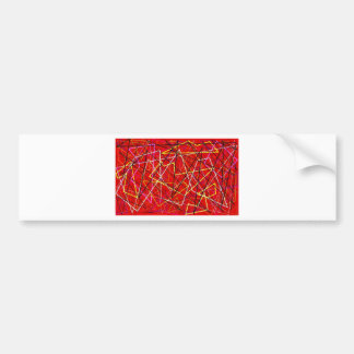 Red abstract lines bumper sticker