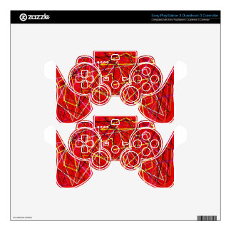Red abstract lines PS3 controller decals