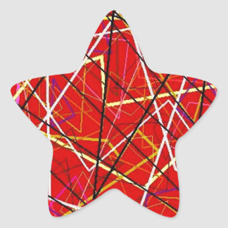 Red abstract lines star sticker