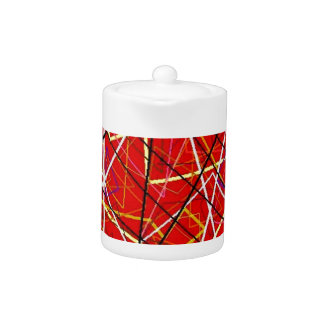 Red abstract lines teapot