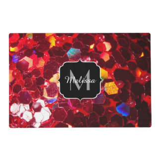 Red abstract mosaic shiny glitter pattern Monogram Placemat