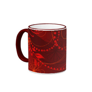 red abstract ringer coffee mug