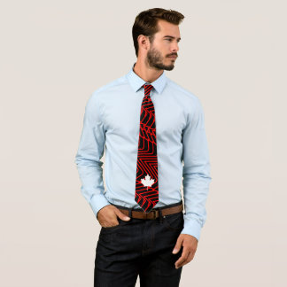 Red abstract on Black with White Canadian Maple Neck Tie