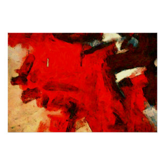 Red Abstract Painting Art Print Poster
