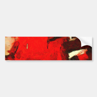 Red Abstract Painting Bumper Sticker