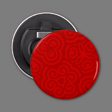 Red Abstract Pattern Button Bottle Opener