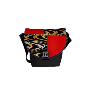 Red Abstract Pattern Chevron Stripes Black & White Courier Bag