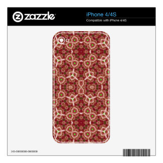 Red Abstract Pattern Decals For iPhone 4