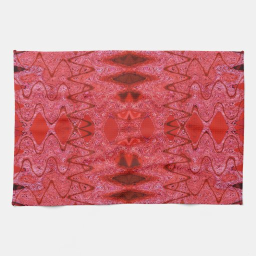 red abstract pattern kitchen towel