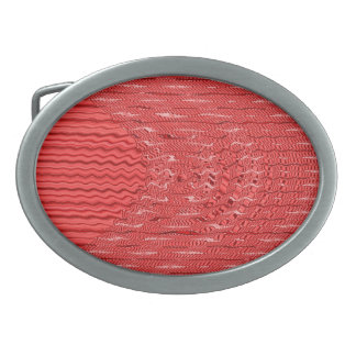 red abstract pattern oval belt buckle