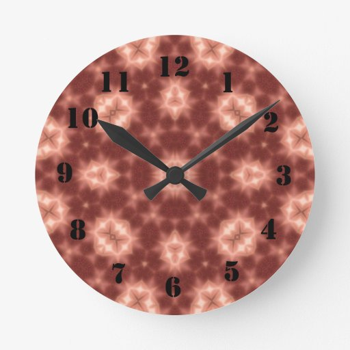 Red Abstract Pattern Round Wall Clock