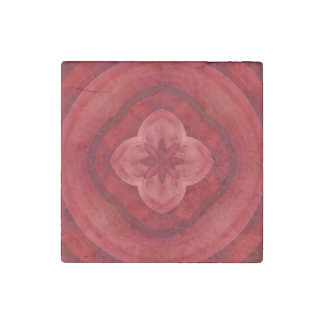 Red abstract pattern stone magnet