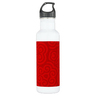 Red Abstract Pattern Water Bottle