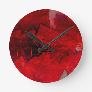 Red Abstract Round Clock