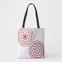 Red abstract shoulder fabric bag